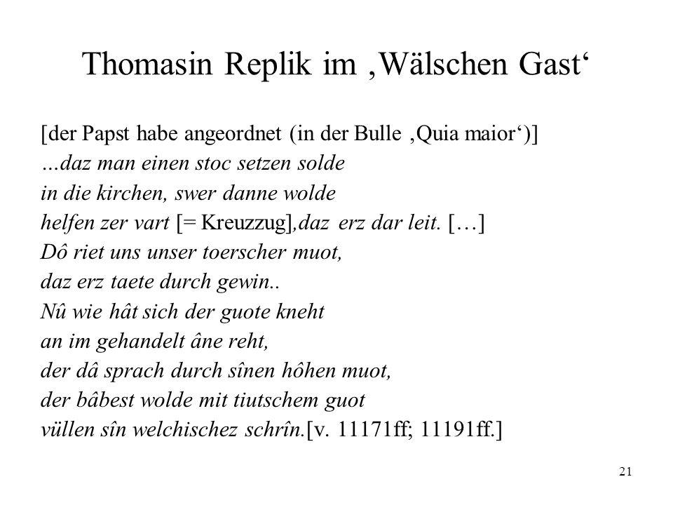 Thomasin Replik im 'Wälschen Gast'