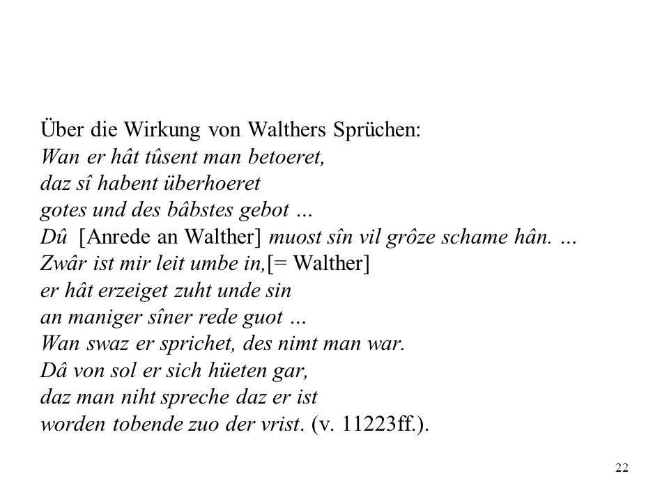Über die Wirkung von Walthers Sprüchen: