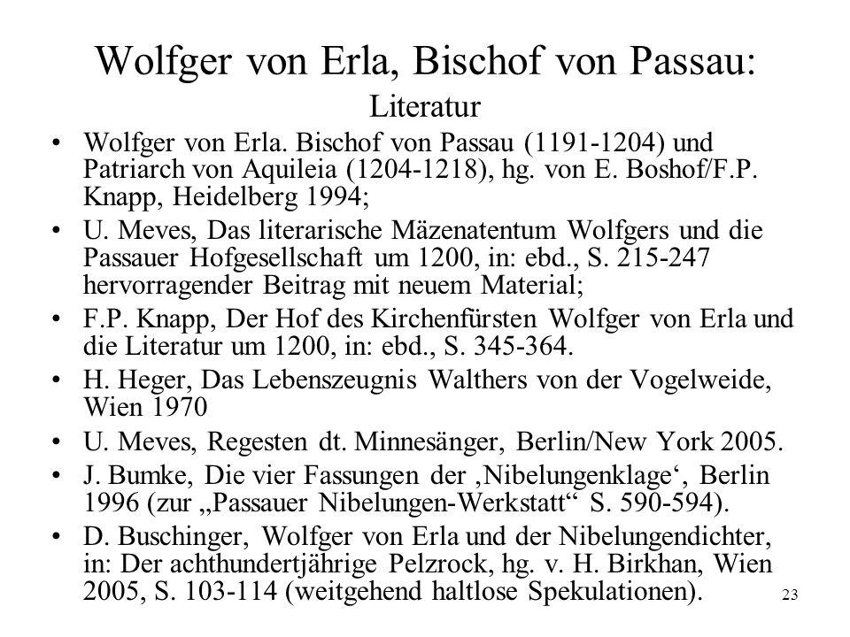 Wolfger von Erla, Bischof von Passau: Literatur
