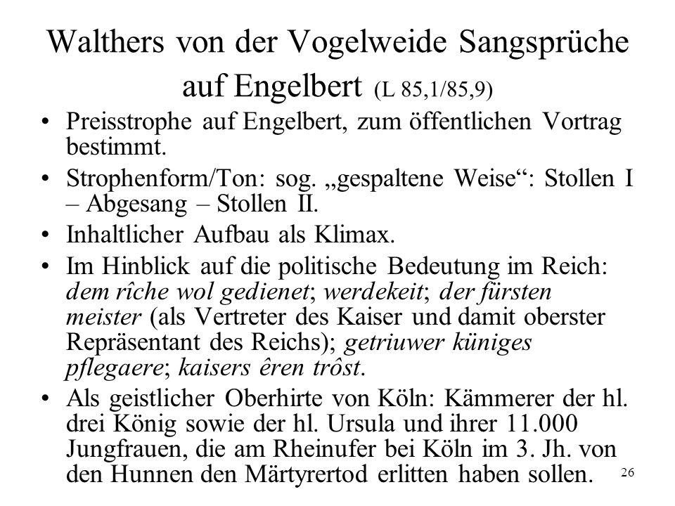 Walthers von der Vogelweide Sangsprüche auf Engelbert (L 85,1/85,9)