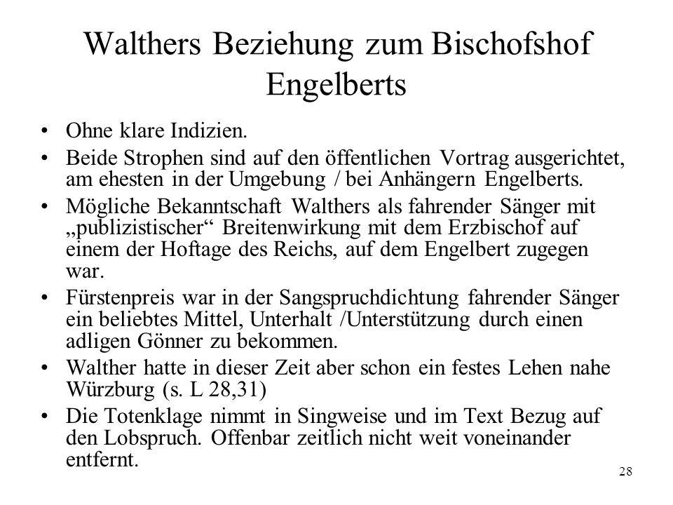 Walthers Beziehung zum Bischofshof Engelberts
