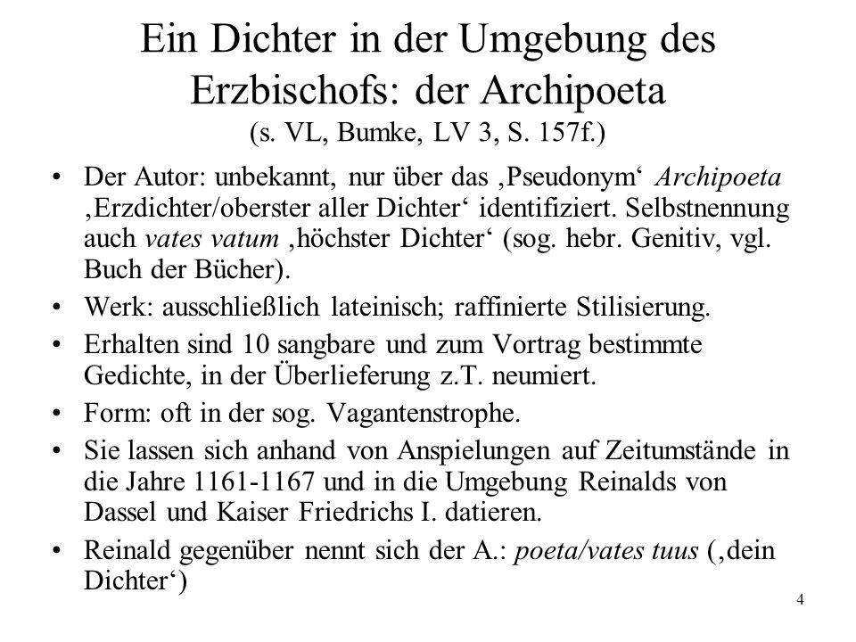 Ein Dichter in der Umgebung des Erzbischofs: der Archipoeta (s