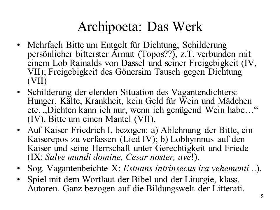 Archipoeta: Das Werk