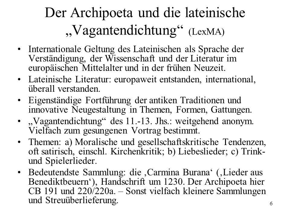 """Der Archipoeta und die lateinische """"Vagantendichtung (LexMA)"""