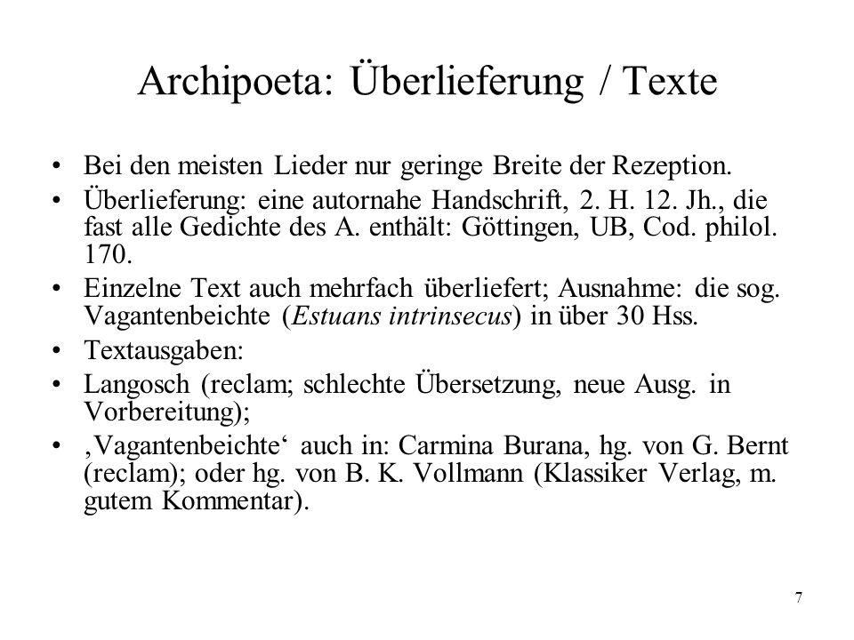 Archipoeta: Überlieferung / Texte