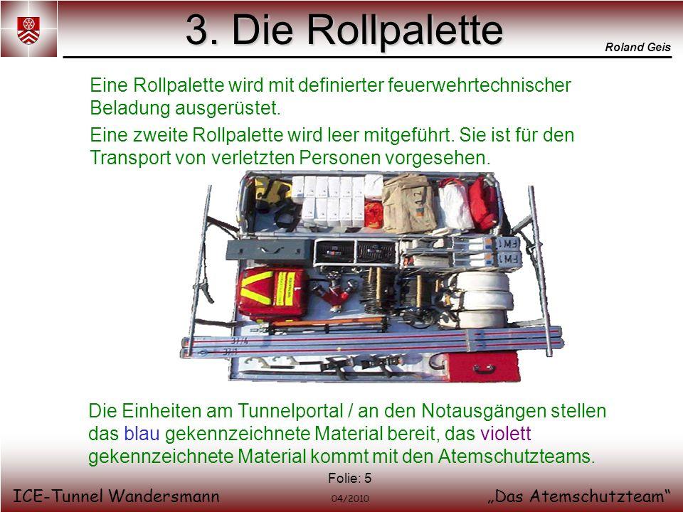 3. Die Rollpalette Eine Rollpalette wird mit definierter feuerwehrtechnischer Beladung ausgerüstet.
