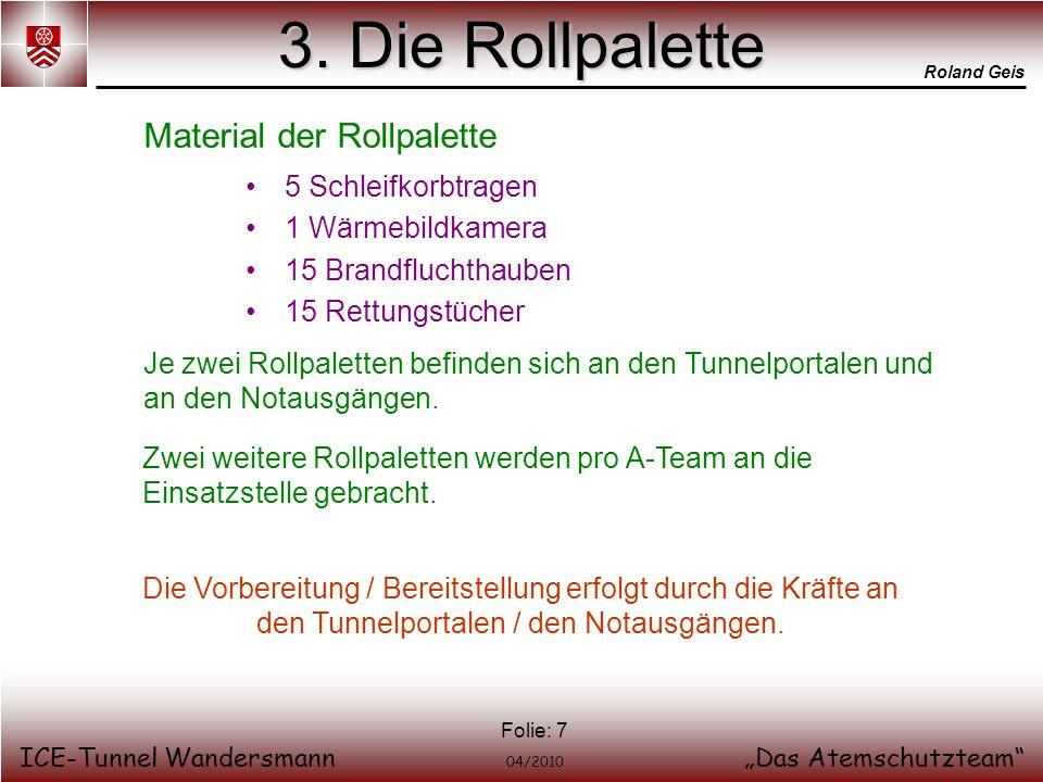 3. Die Rollpalette Material der Rollpalette 5 Schleifkorbtragen