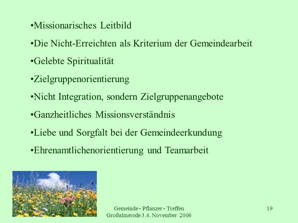 Gemeinde - Pflanzer - Treffen Großalmerode 3.4. November 2006
