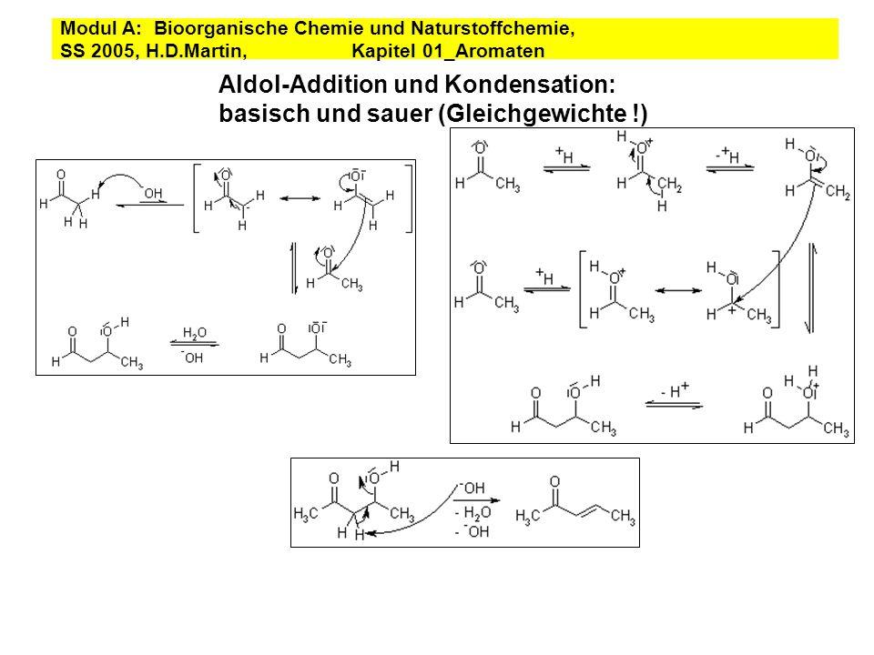 Aldol-Addition und Kondensation: basisch und sauer (Gleichgewichte !)