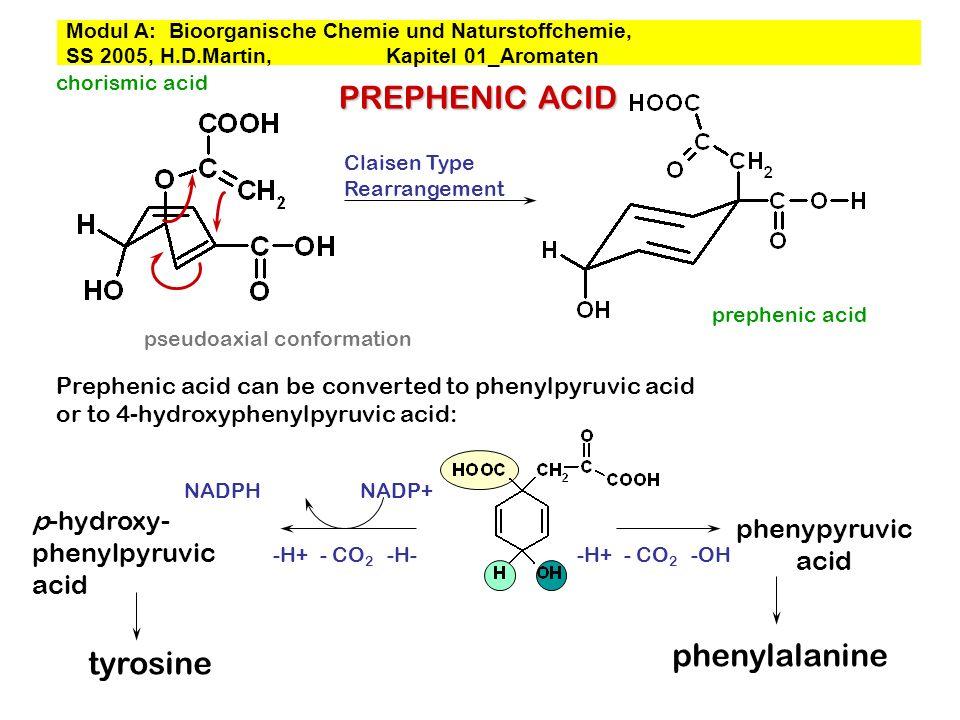 PREPHENIC ACID phenylalanine tyrosine p-hydroxy- phenypyruvic