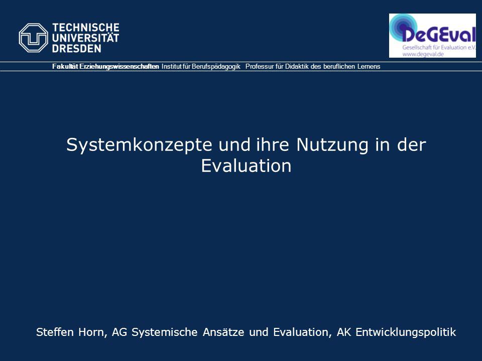 Systemkonzepte und ihre Nutzung in der Evaluation