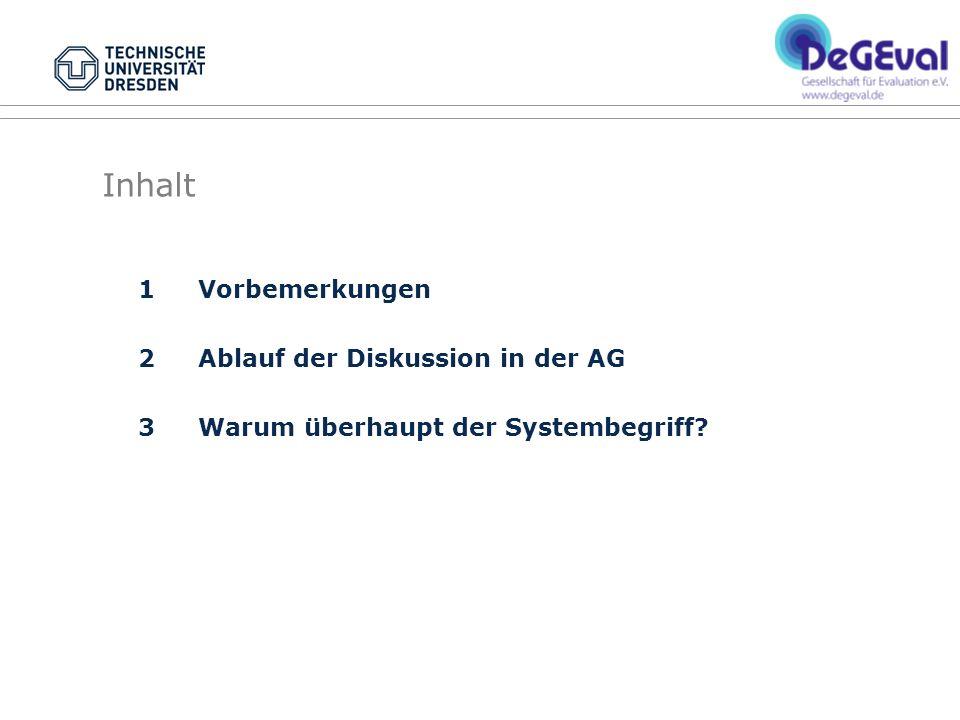 Inhalt 1 Vorbemerkungen 2 Ablauf der Diskussion in der AG