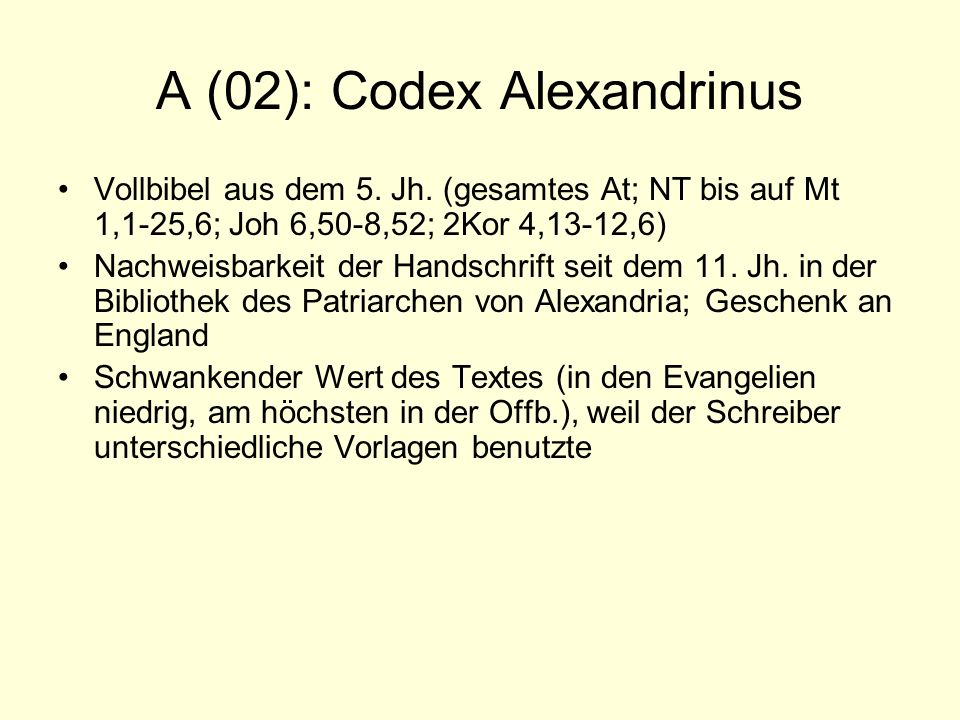 A (02): Codex Alexandrinus