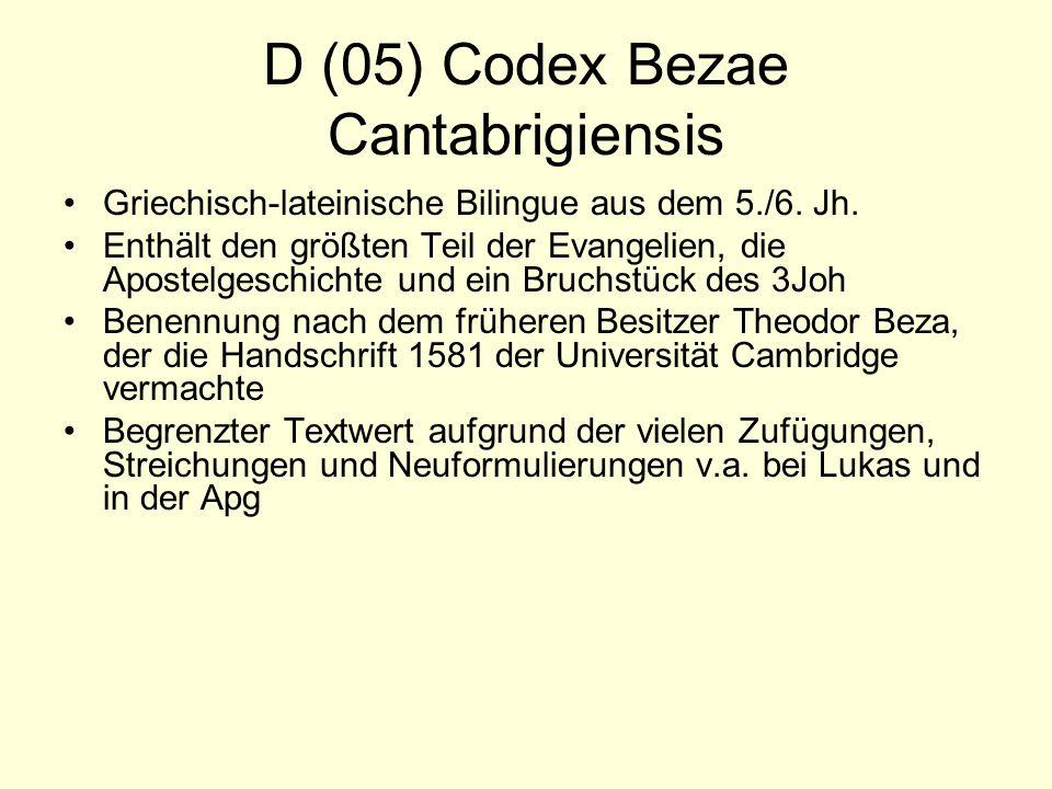 D (05) Codex Bezae Cantabrigiensis