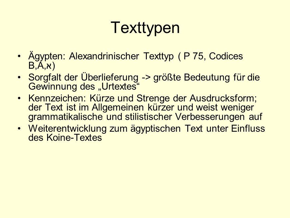 Texttypen Ägypten: Alexandrinischer Texttyp ( P 75, Codices B,A,א)