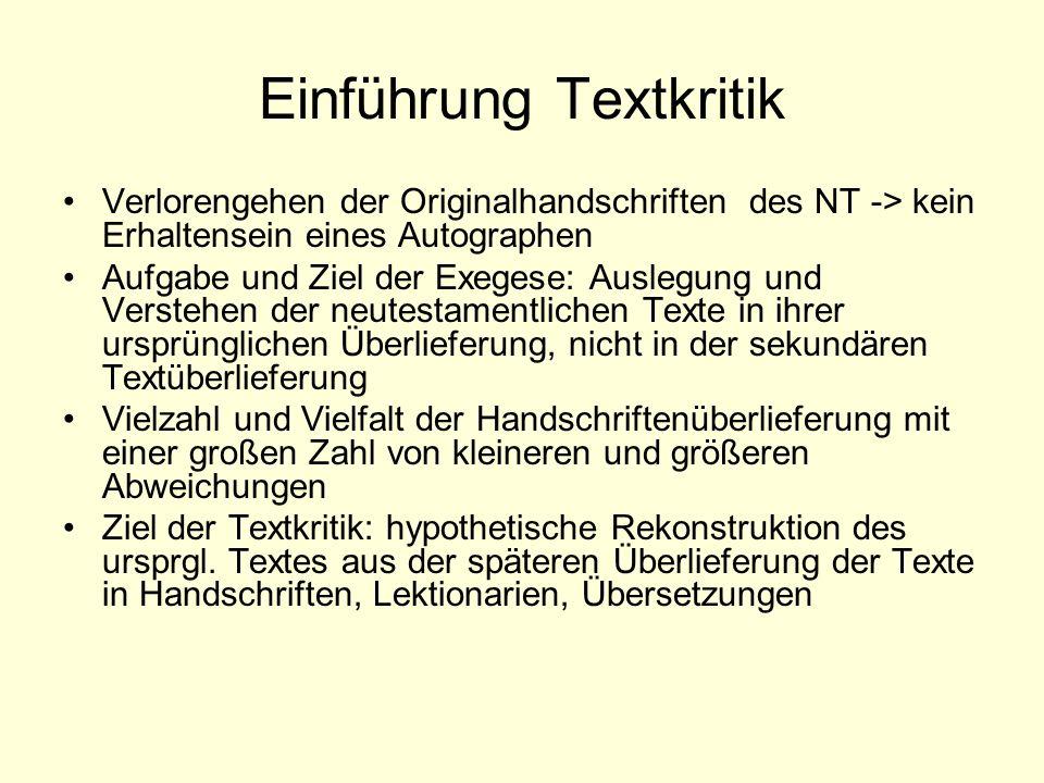 Einführung Textkritik
