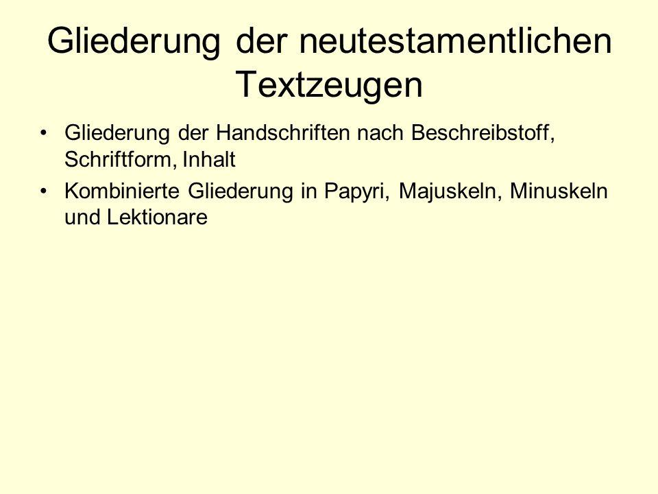 Gliederung der neutestamentlichen Textzeugen