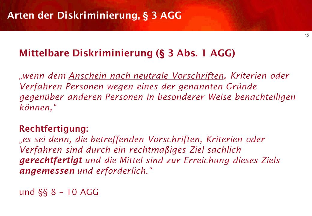 Arten der Diskriminierung, § 3 AGG