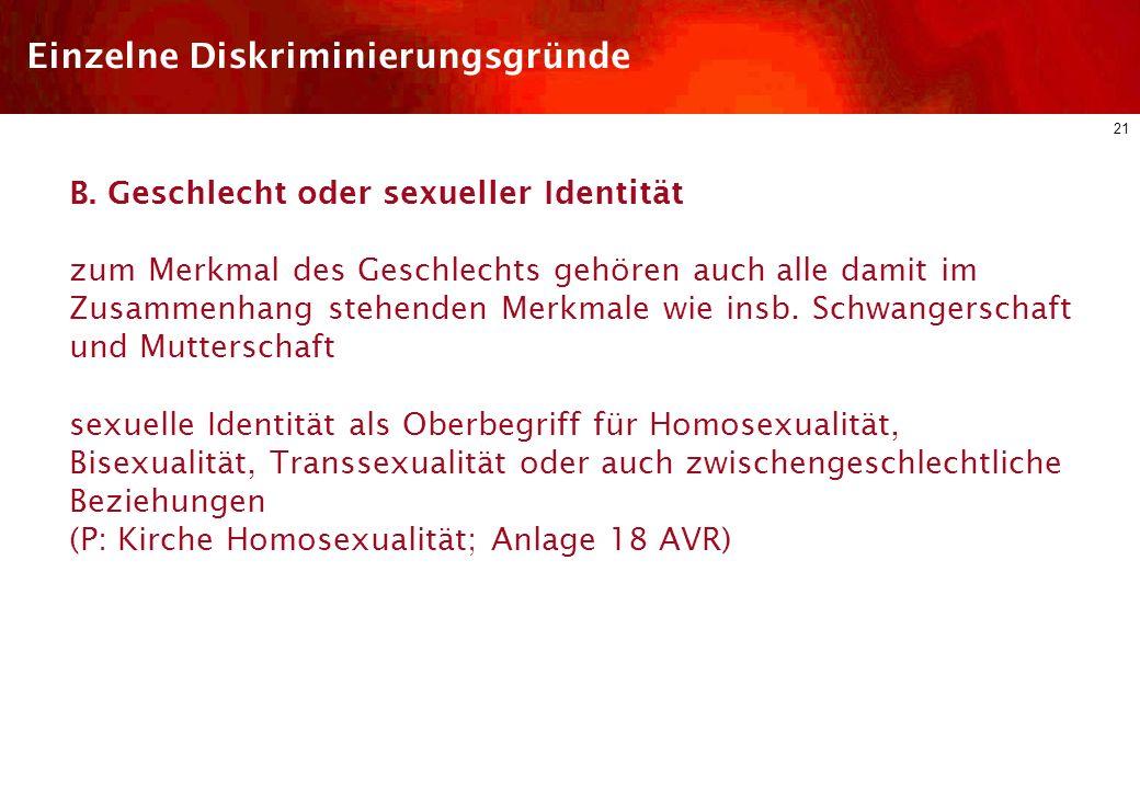 Einzelne Diskriminierungsgründe