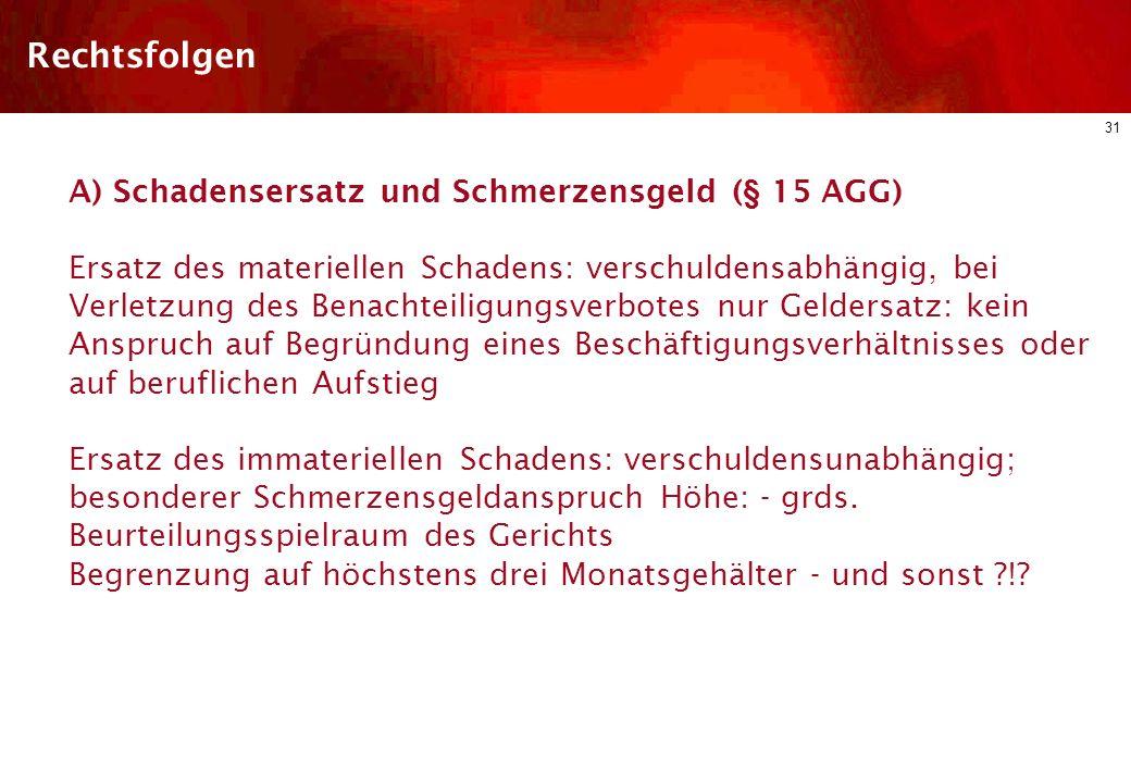 Rechtsfolgen A) Schadensersatz und Schmerzensgeld (§ 15 AGG)