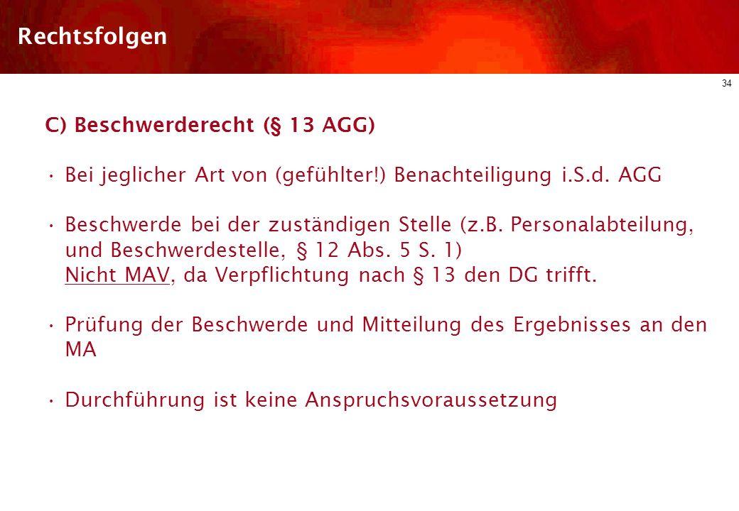 Rechtsfolgen C) Beschwerderecht (§ 13 AGG)