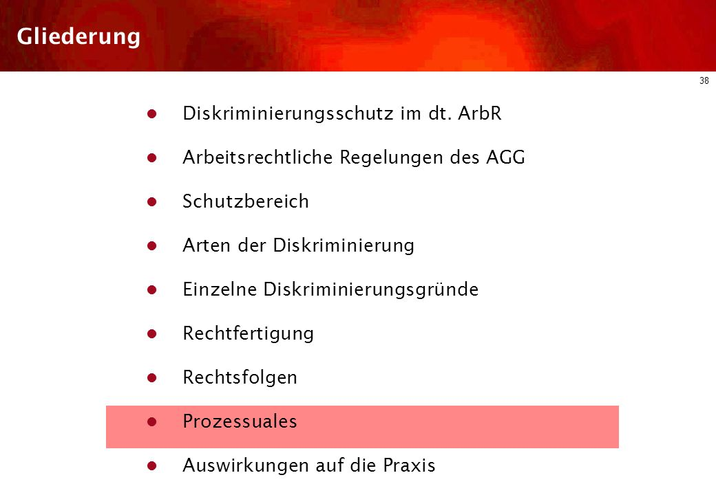 Gliederung Diskriminierungsschutz im dt. ArbR