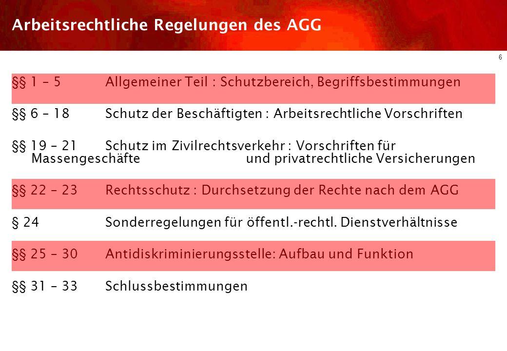 Arbeitsrechtliche Regelungen des AGG