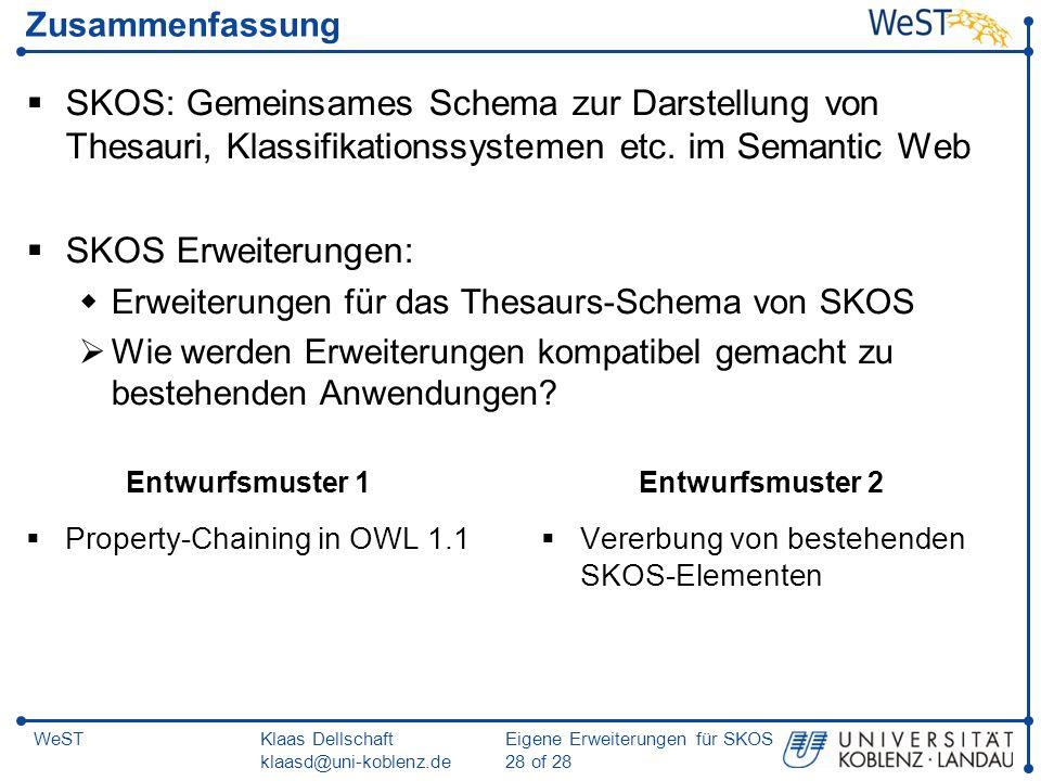 Zusammenfassung SKOS: Gemeinsames Schema zur Darstellung von Thesauri, Klassifikationssystemen etc. im Semantic Web.