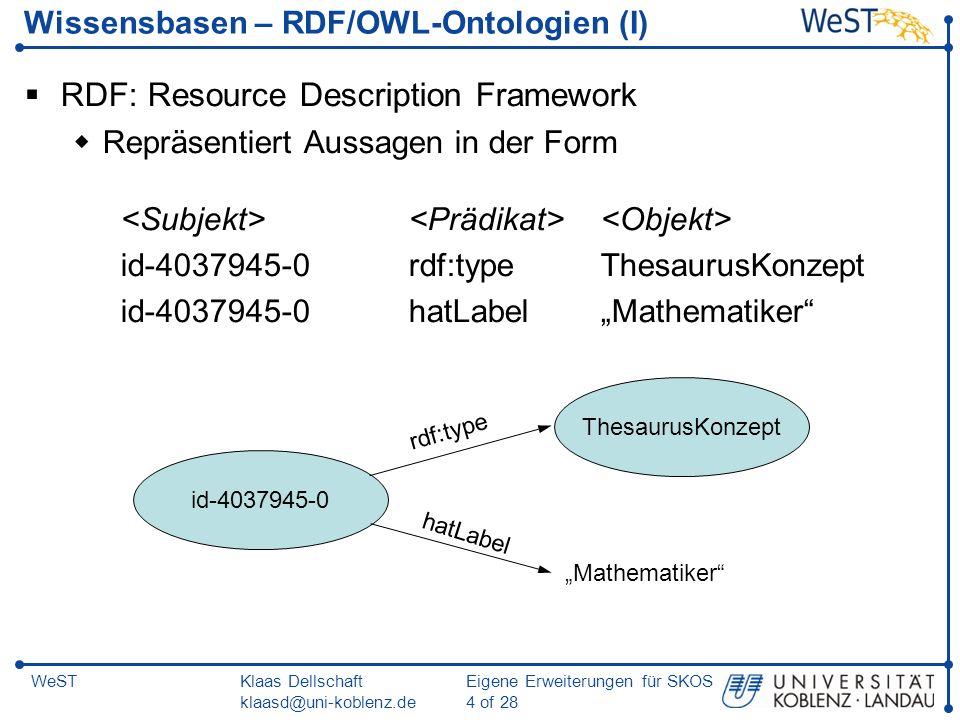 Wissensbasen – RDF/OWL-Ontologien (I)