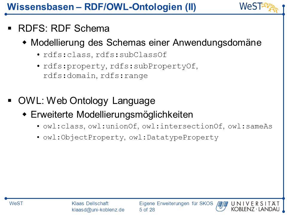 Wissensbasen – RDF/OWL-Ontologien (II)