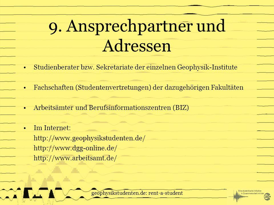 9. Ansprechpartner und Adressen