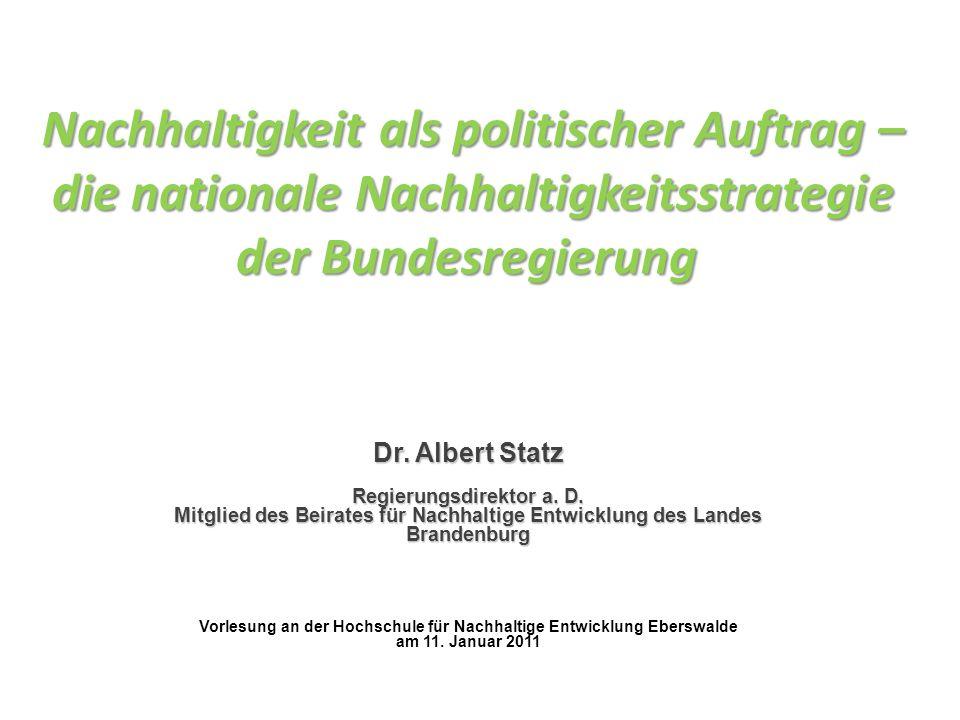 Nachhaltigkeit als politischer Auftrag – die nationale Nachhaltigkeitsstrategie der Bundesregierung
