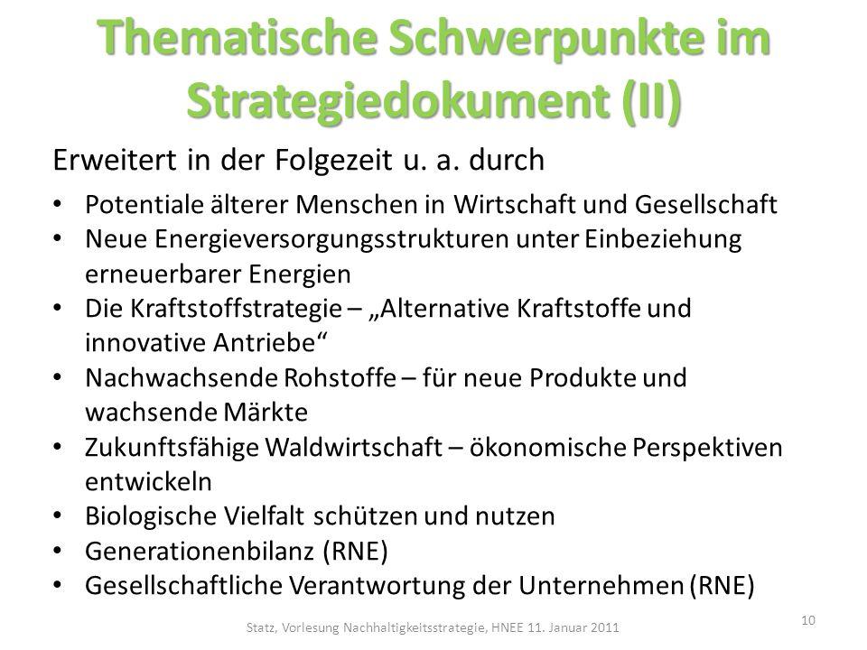 Thematische Schwerpunkte im Strategiedokument (II)