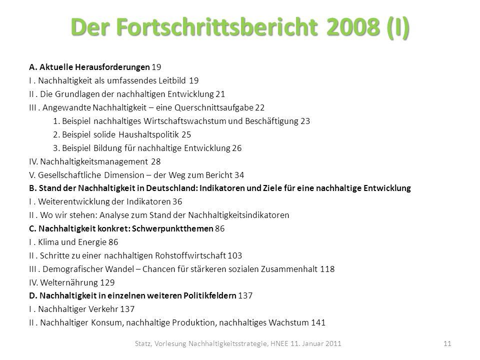 Der Fortschrittsbericht 2008 (I)