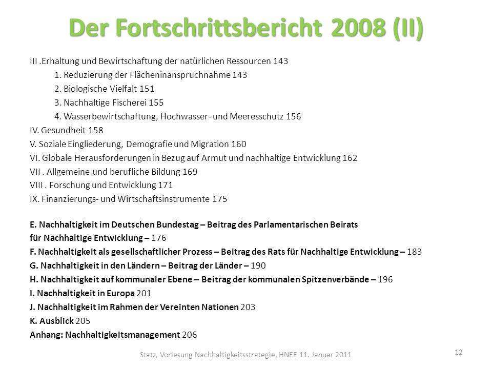 Der Fortschrittsbericht 2008 (II)
