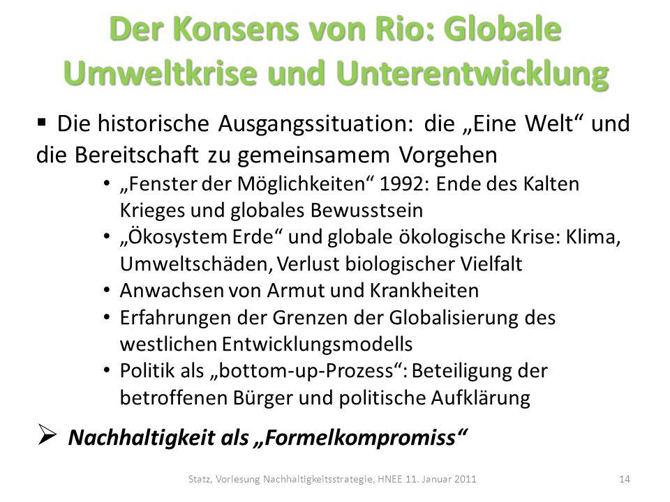 Der Konsens von Rio: Globale Umweltkrise und Unterentwicklung