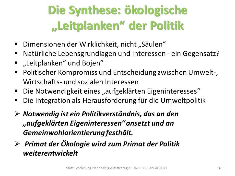 """Die Synthese: ökologische """"Leitplanken der Politik"""