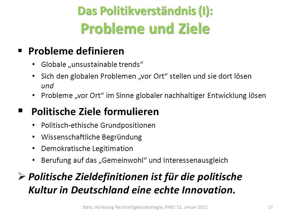 Das Politikverständnis (I): Probleme und Ziele