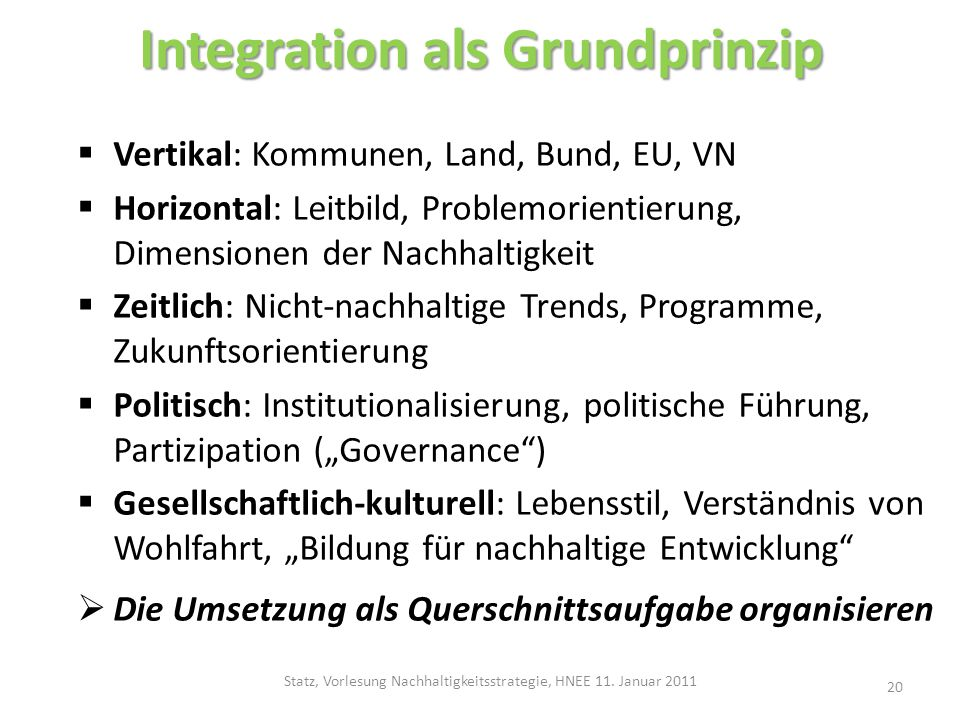 Integration als Grundprinzip