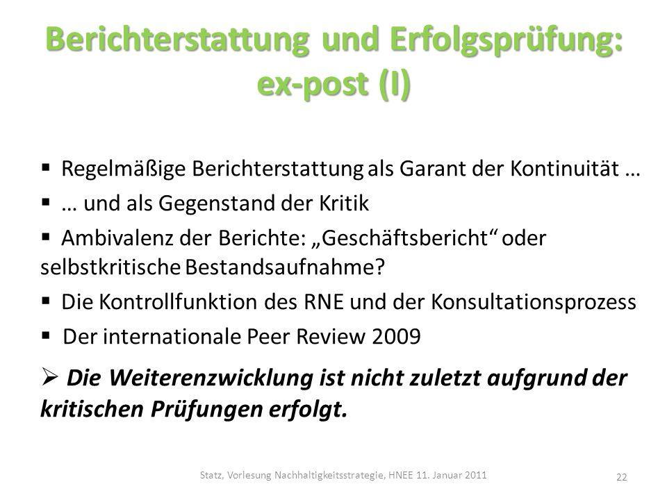 Berichterstattung und Erfolgsprüfung: ex-post (I)