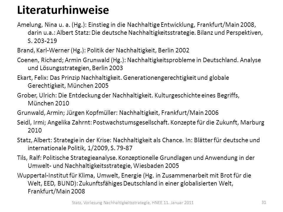 Statz, Vorlesung Nachhaltigkeitsstrategie, HNEE 11. Januar 2011