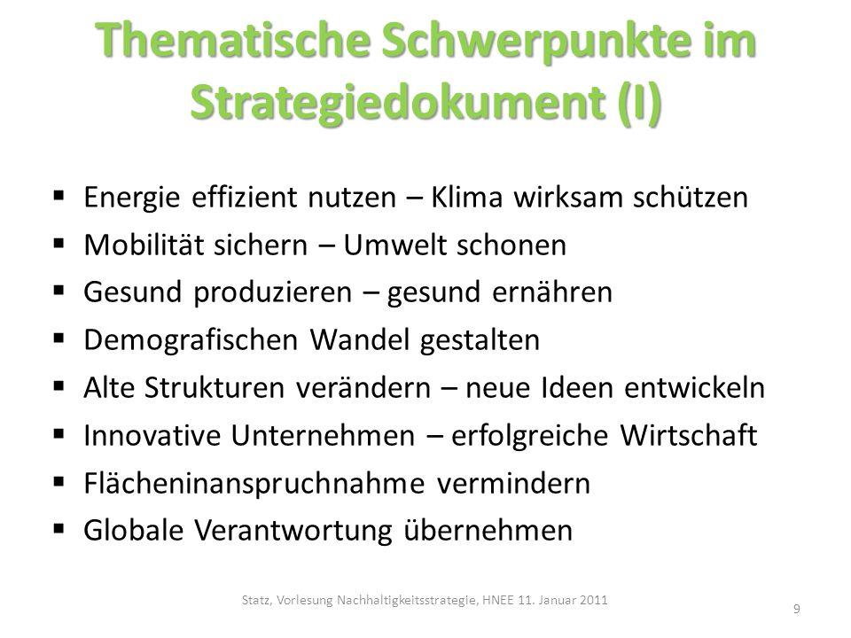Thematische Schwerpunkte im Strategiedokument (I)