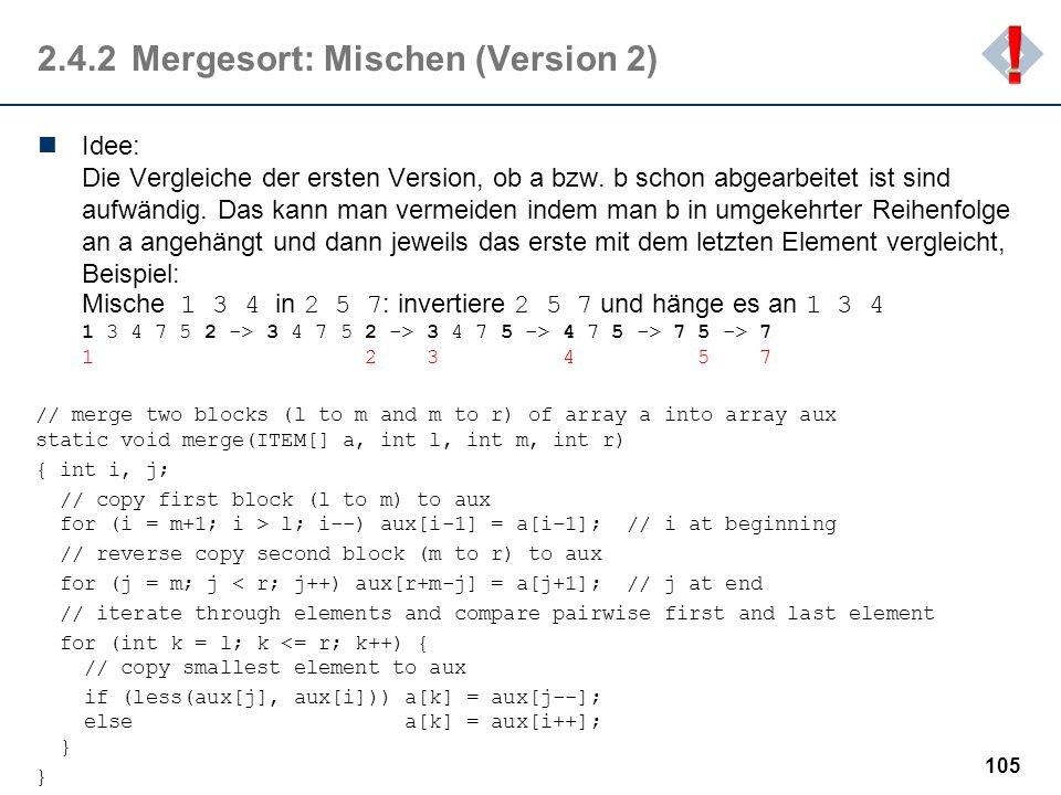 2.4.2 Mergesort: Mischen (Version 2)