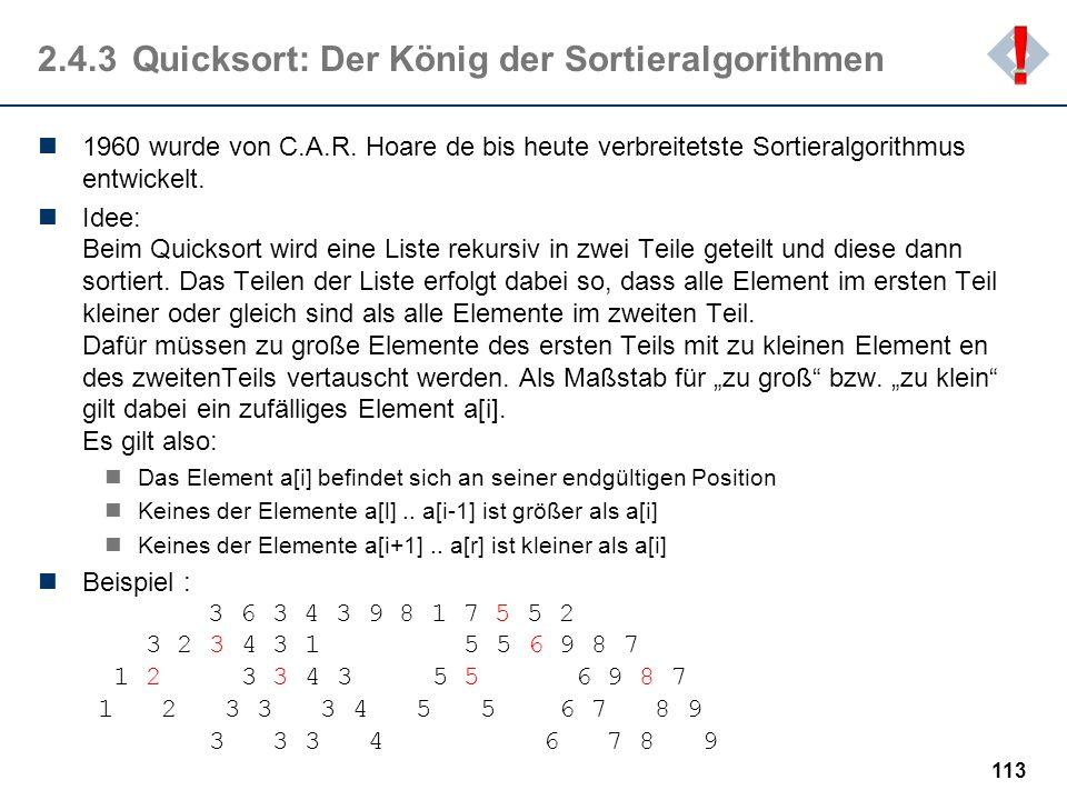 2.4.3 Quicksort: Der König der Sortieralgorithmen