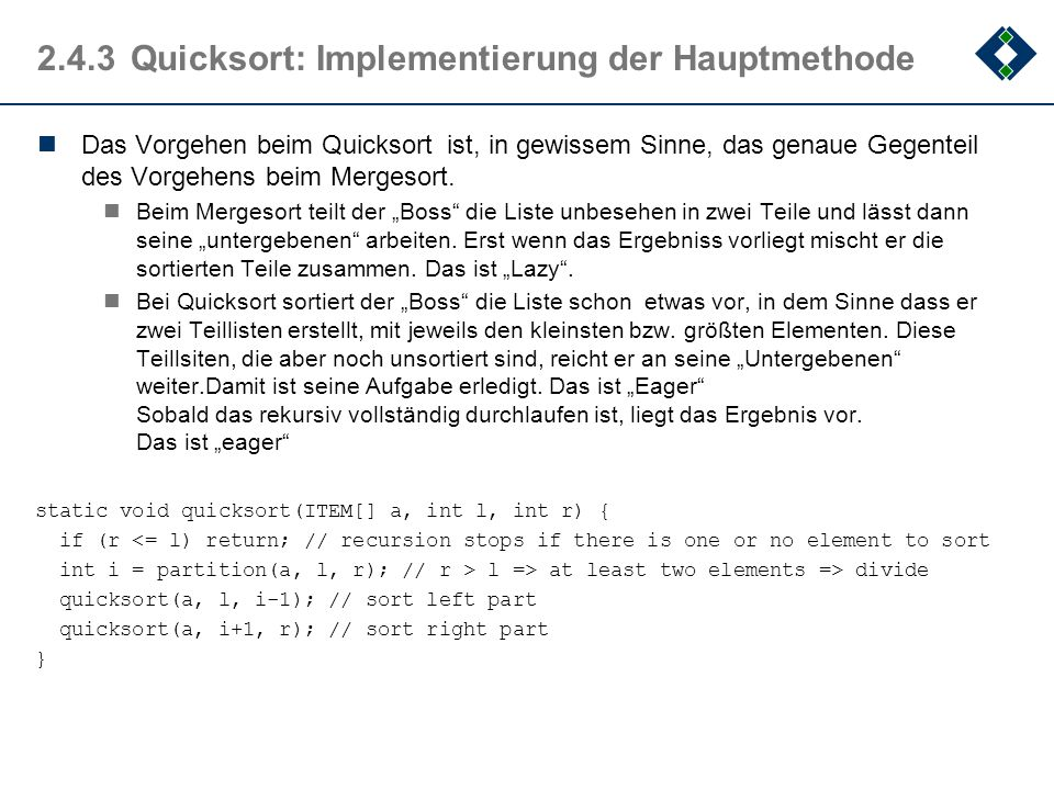 2.4.3 Quicksort: Implementierung der Hauptmethode