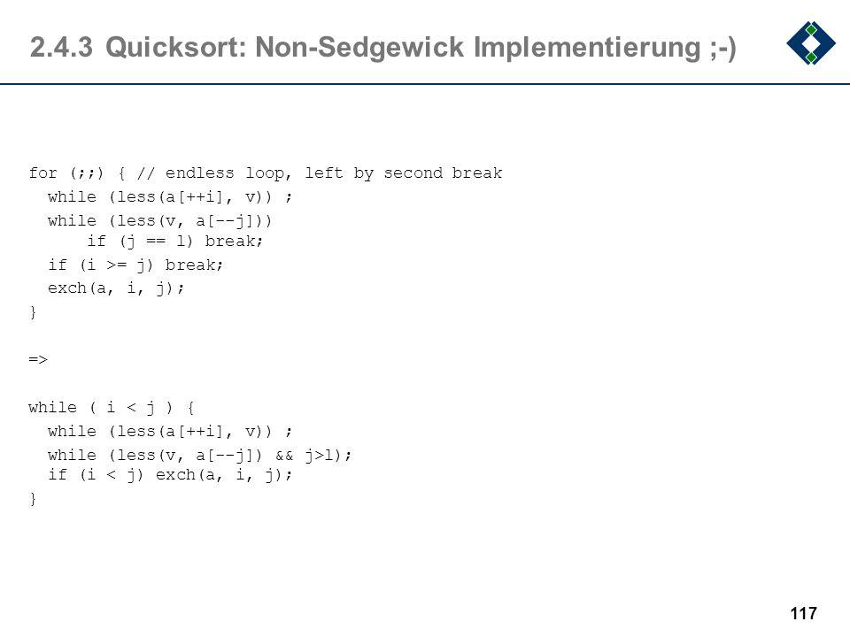 2.4.3 Quicksort: Non-Sedgewick Implementierung ;-)
