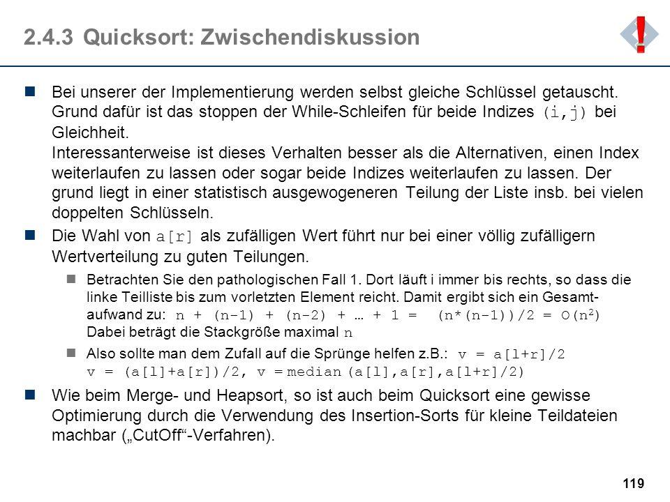 2.4.3 Quicksort: Zwischendiskussion