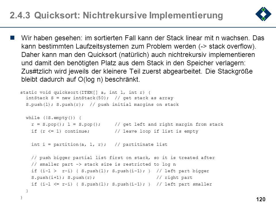 2.4.3 Quicksort: Nichtrekursive Implementierung