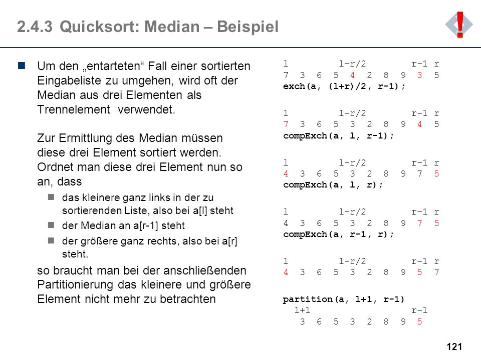 2.4.3 Quicksort: Median – Beispiel