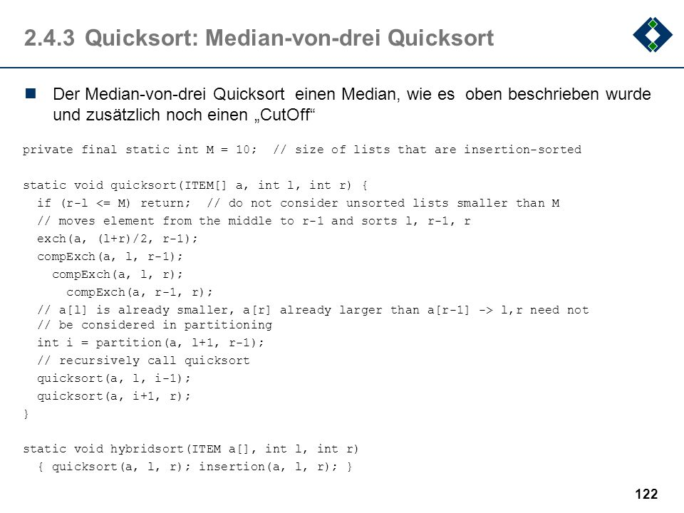 2.4.3 Quicksort: Median-von-drei Quicksort